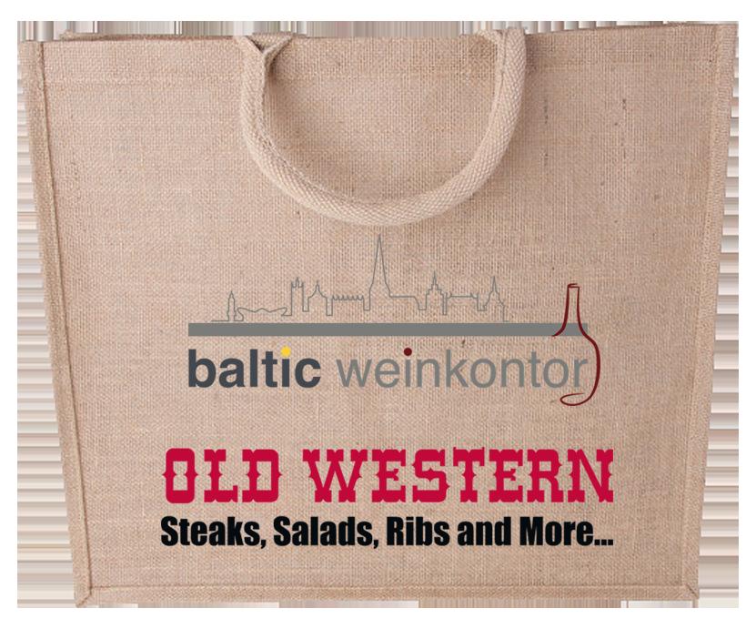 Jute Tasche mit Logos - Old Western & baltic weinkontor - kein Hintergrund