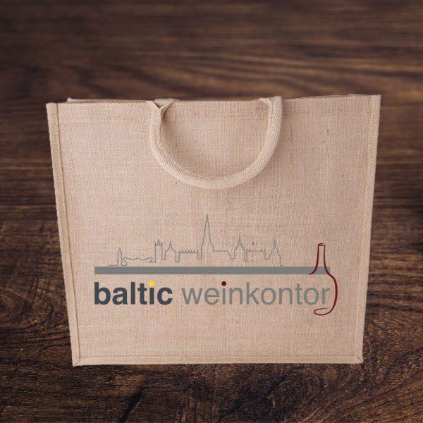 Jute Tasche mit baltic weinkontor Logo