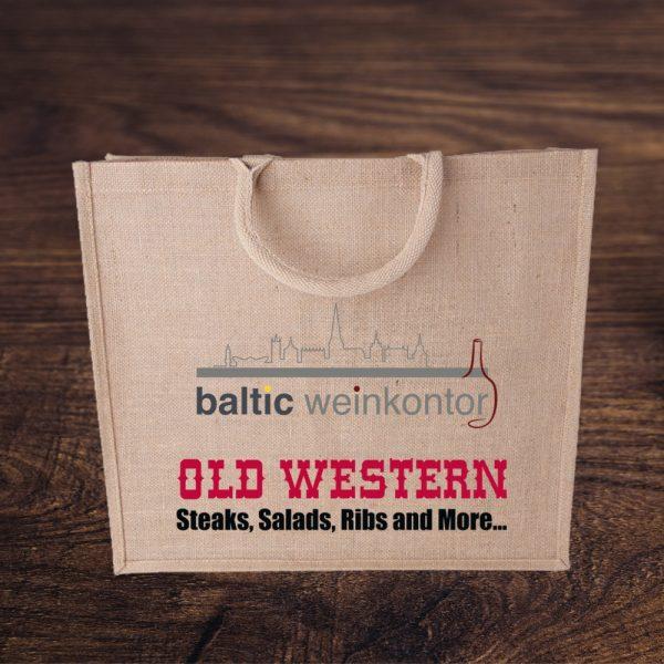 Jute Tasche mit Logos - Old Western & baltic weinkontor