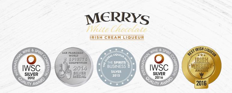 Merrys Irish Cream Liqueur - White Chocolate - Awards
